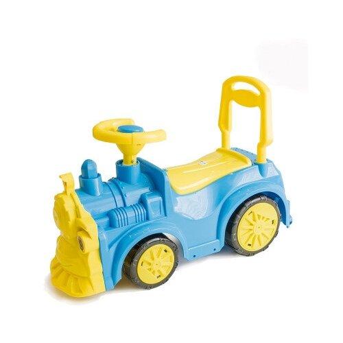 Купить Каталка-толокар Orion Toys Паровозик (761) со звуковыми эффектами синий, Каталки и качалки