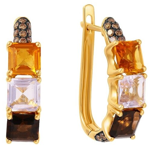 JV Золотые серьги с бриллиантами AAS-3836E-SR-DN-MC-YG