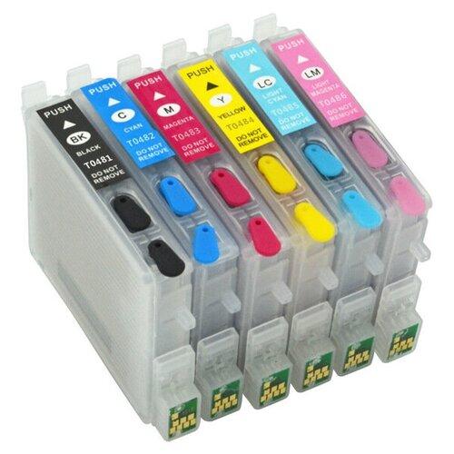 Комплект перезаправляемых картриджей T0487 ПЗК (T0481 T0482 T0483 T0484 T0485 T0486) для струйного принтера Epson совместимый
