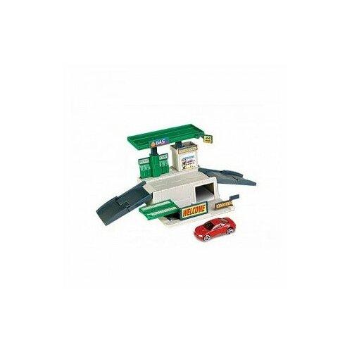 Купить Autotime (Autogrand) Игровой набор Turbo: Заправка, 76750 белый/серый/зеленый, Детские парковки и гаражи