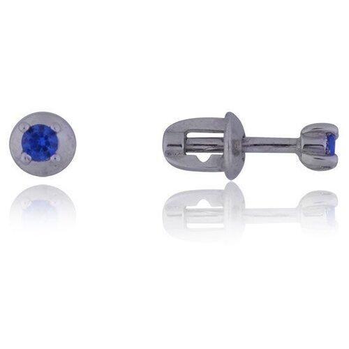 TOP CRYSTAL Одиночная серьга с фианитом, серебряная 40455003-синий