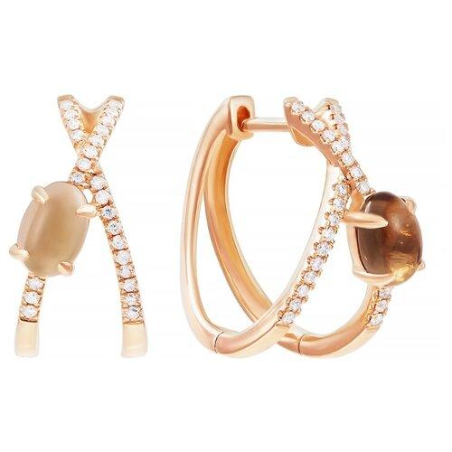 JV Золотые серьги с раухтопазом, бриллиантами ME37684-WD-SMQ-RG-SR-SQ-PINK