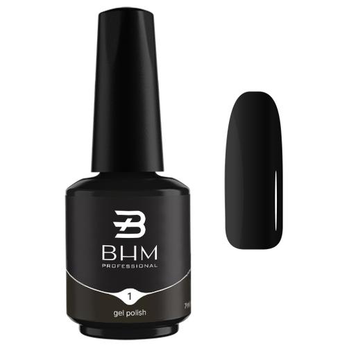 Гель-лак для ногтей BHM Professional Gel Polish, 7 мл, оттенок №001 Extra black гель лак для ногтей bhm professional gel polish 7 мл оттенок 135