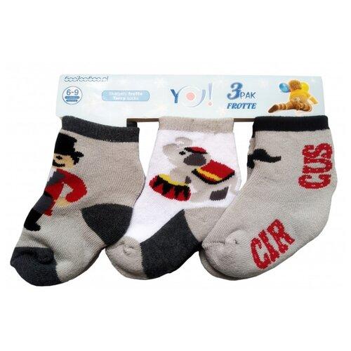 Носки Yo! комплект из 3 пар, размер 6-9 мес(10), серый/белый/серый