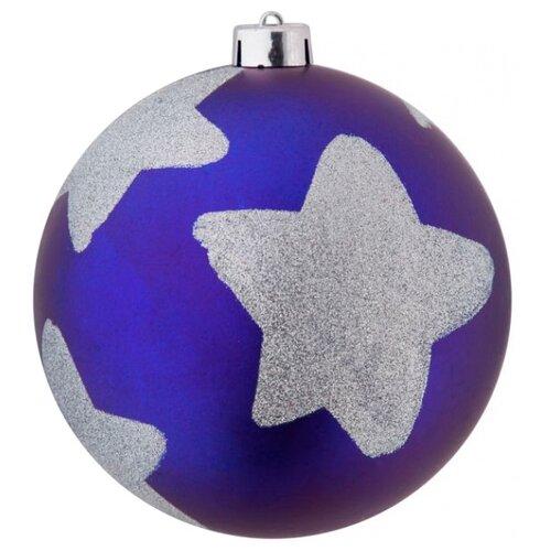 Елочный шар SNOWMEN со звездами (Е96384/Е96385), синий