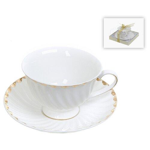 набор чайный best home porcelain indigo 200 мл 4 предмета Чайный набор 2 предмета Золотая волна, 200 мл (золотая обводка)
