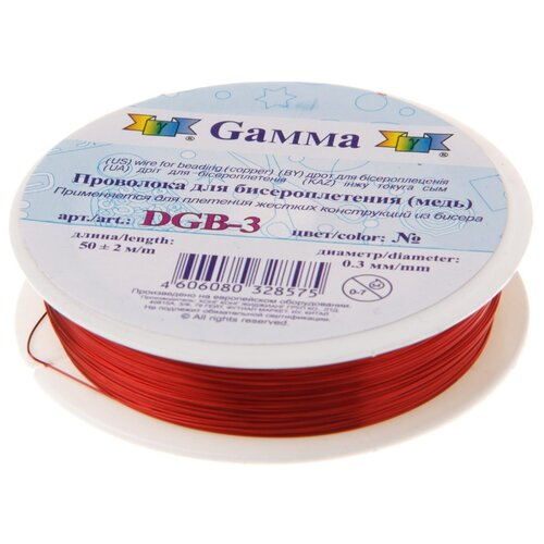 Купить Проволока для бисера Gamma , металл, 0, 3 мм, 50±2 м, цвет: алый, арт. DGB-3 14, Фурнитура для украшений