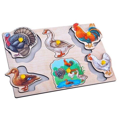 Пазл-вкладыш Деревянные игрушки Птицы на ферме (ДИ106)