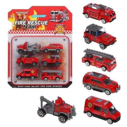 Набор машинок Наша Игрушка Пожарная бригада, металл, без механизма, 6 шт (808D)