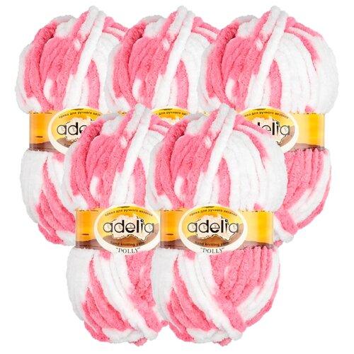 Купить Пряжа Adelia Dolly секционного окрашивания, 100 % полиэстер, 100 г, 40 м, 5 шт., №16 бело-розовый