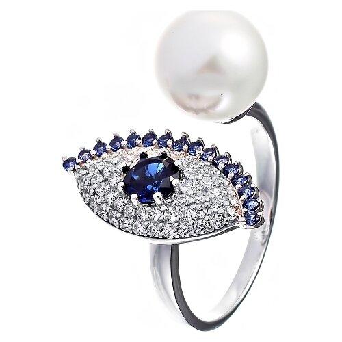 JV Кольцо с жемчугом и фианитами из серебра DL0075R-WM-001-WG, размер 18 jv кольцо с фианитами из серебра dm2077r 001 wg размер 18