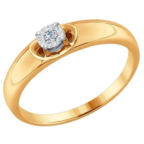 SOKOLOV Кольцо из комбинированного золота с алмазной гранью с бриллиантом 1011627, размер 18