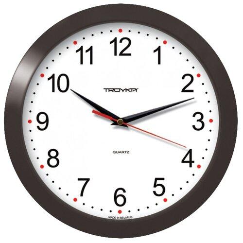 Часы настенные кварцевые Тройка 11100112 черный/белый.