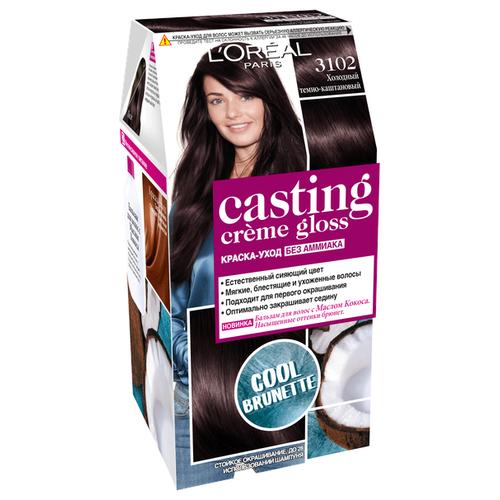 L'Oreal Paris Casting Creme Gloss стойкая краска-уход для волос, 3102 холодный темно-каштановый крем краска для волос casting creme gloss 400 каштановый