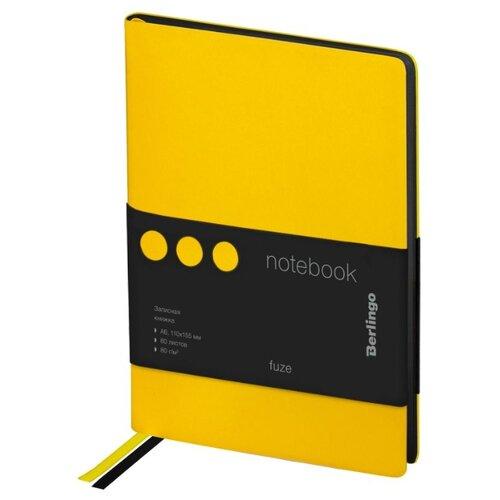 Купить Ежедневник Berlingo Fuze недатированный, искусственная кожа, А6, 80 листов, желтый, Ежедневники, записные книжки
