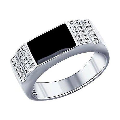 SOKOLOV Кольцо с эмалью и фианитами из серебра 94011390, размер 20.5 фото