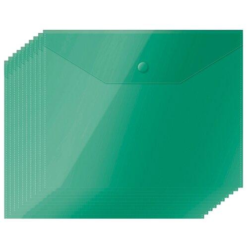 Купить OfficeSpace Папка-конверт на кнопке А5, пластик 150 мкм, 10 шт зеленый, Файлы и папки