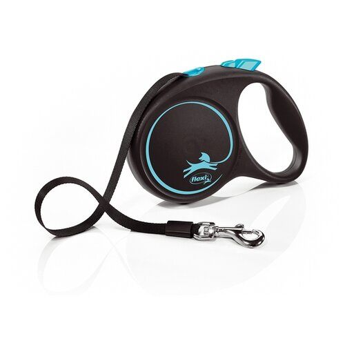 Фото - Поводок-рулетка для собак Flexi Black Design M ленточный синий 5 м поводок рулетка для собак flexi black design m ленточный зеленый 5 м