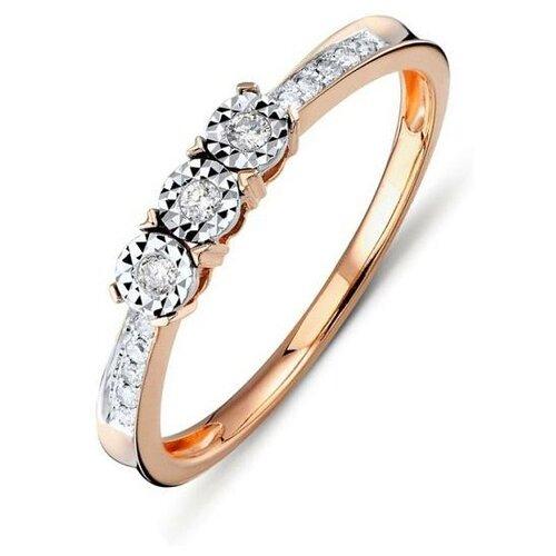 ЛУКАС Кольцо с 13 бриллиантами из красного золота R01-D-R301370DIA-R17, размер 17 фото