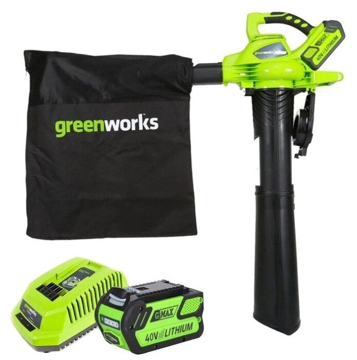 Аккумуляторный садовый пылесос greenworks GD40BVK4 c АКБ и ЗУ
