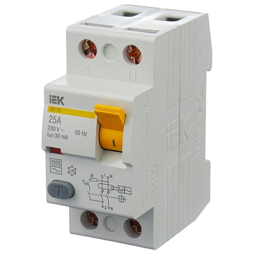 УЗО IEK 30мА тип AC ВД1-63 MDV10-2-025-030 2 полюса 25 А