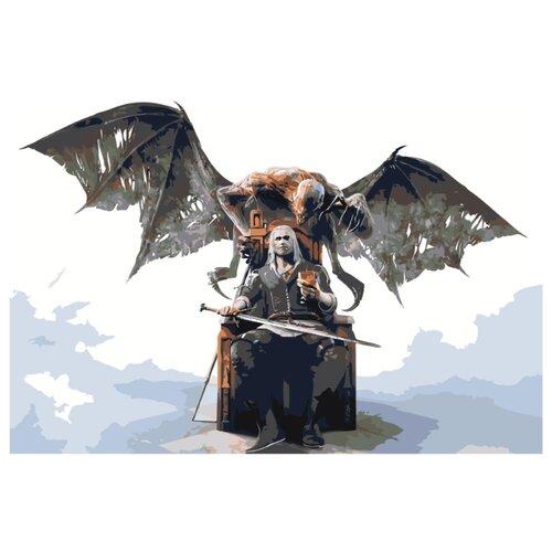 Купить Ведьмак на троне Раскраска картина по номерам на холсте Z-AB415 40х60, Живопись по номерам, Картины по номерам и контурам