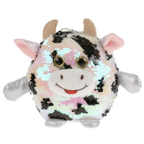 Купить Игрушка мягкая корова из пайеток пятнистая 17см, Мульти-пульти, Мульти-Пульти, Мягкие игрушки