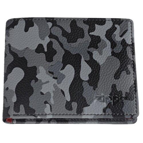 Портмоне ZIPPO, серо-чёрный камуфляж, натуральная кожа, 10,8×2,5×8,6 см
