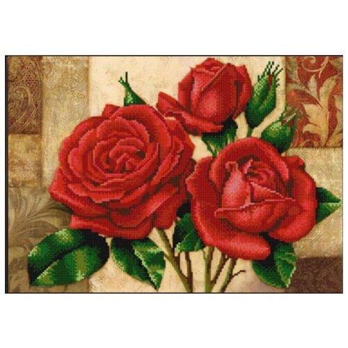 Купить Красные розы (рис. на сатене 29х39) 29х39 Конек 9867, Конёк, Канва