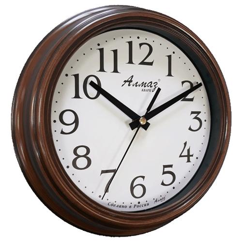 Часы настенные кварцевые Алмаз C03 темно-коричневый