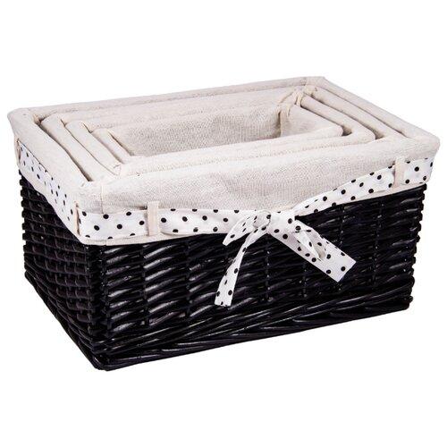 Русские подарки Набор плетеных корзинок 80348 черный/белый