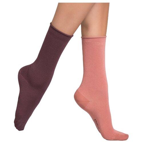 Носки DIM 017D, 2 пары, размер 35-38, розовый/бордовый носки 017d 2 пары dim 35 38 черный