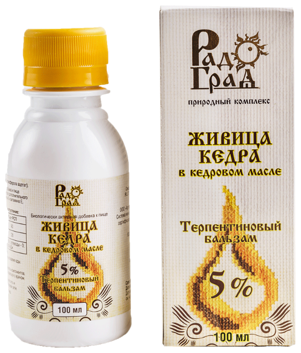 Бальзам РадоГрад Живица кедра в кедровом масле 5% фл. 100 мл