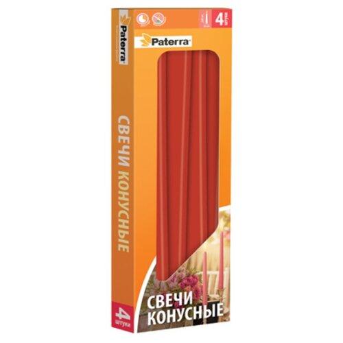 Набор свечей Paterra конусных бордовые 4 шт. зажим для рулетов paterra длина 39 см 4 шт