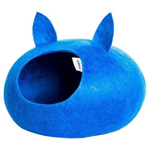 Домик для кошек, для собак Zoobaloo WoolPetHouse L с ушками 40х40х20 см синийЛежаки, домики, спальные места<br>