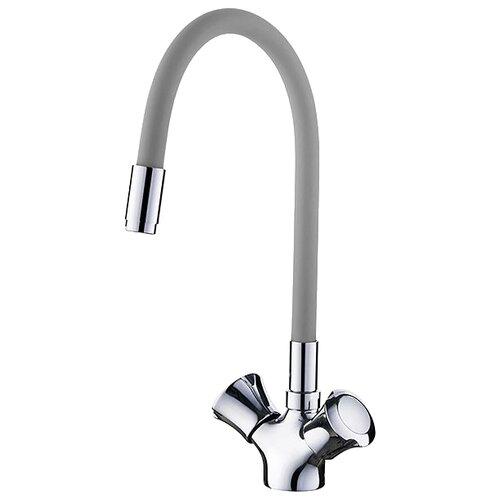 Смеситель для кухни (мойки) Ledeme L4022 двухрычажный хром/серый смеситель для мойки коллекция h98 l4098 двухвентильный хром ledeme ледеме
