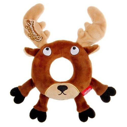 Кольцо для собак GiGwi Plush Friendz Лось (75305) коричневый/бежевый игрушка для собак gigwi plush friendz белка 75309 коричневый бежевый