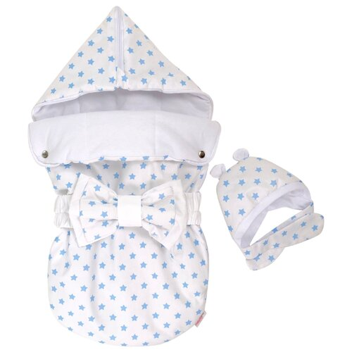 Конверт-мешок СуперМаМкет JustCute лето с бантом и шапочкой 68 см звездочки голубыеКонверты и спальные мешки<br>