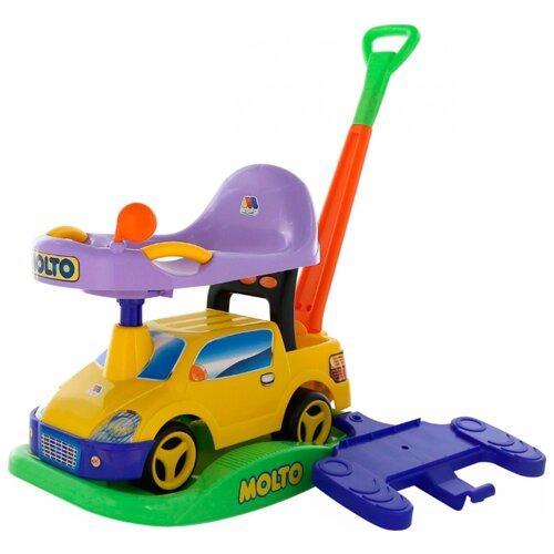 Каталка-качалка Molto Пикап №2 (63113 / 63120 / 63137) со звуковыми эффектами желтый каталка игрушка molto утёнок с ручкой 7925 со звуковыми эффектами желтый зеленый красный