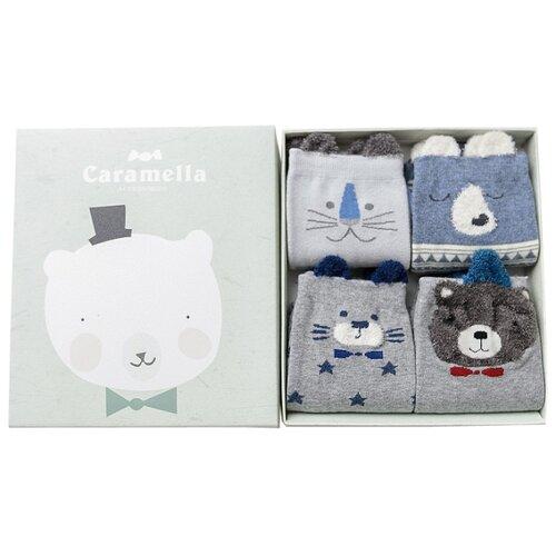 Носки Caramella Белый мишка, 4 пары, размер 22-25, синий/серый