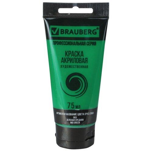 Купить BRAUBERG Краска акриловая художественная Профессиональная серия 75 мл зеленая средняя, Краски