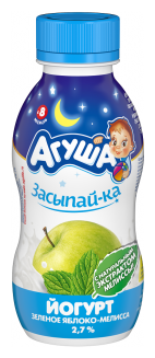 Йогурт питьевой Агуша «Засыпай-ка» детский зеленое яблоко, мелисса (с 8-ми месяцев) 2.7%, 200 г