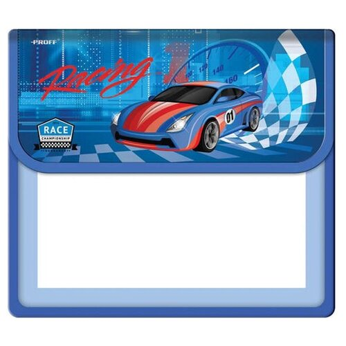 Купить Proff Папка для тетрадей A5 Racing (kk 1001314) синий/прозрачный, Файлы и папки