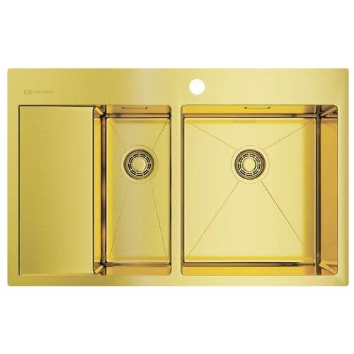 Врезная кухонная мойка 78 см OMOIKIRI Akisame 78-2-LG-R светлое золото врезная кухонная мойка 65 см omoikiri akisame 65 lg r светлое золото