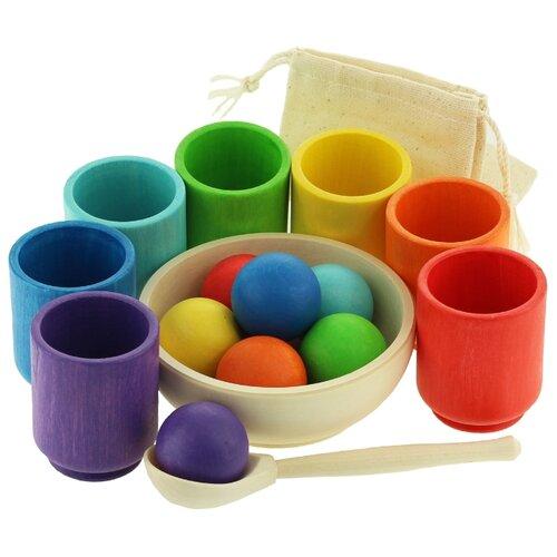 Развивающая игрушка Уланик Шарики в стаканчиках Большие Радуга разноцветный развивающая игрушка findustoys радуга
