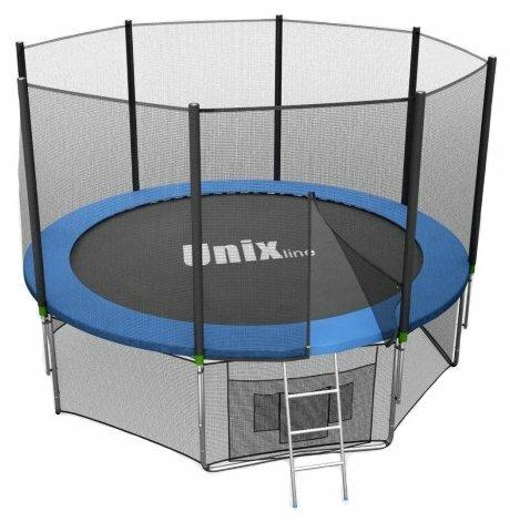 Батут Unix 8 ft с сеткой и лестницей green TRU8OUTGR