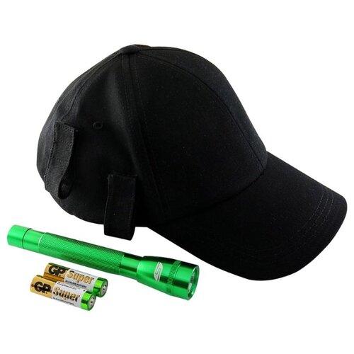 Ручной фонарь SOLARIS F-5 с бейсболкой черный/зеленый