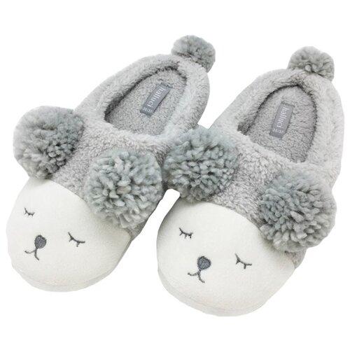 Тапочки Мишки без задника белые Halluci серый 40-41 (Halluci)Домашняя обувь<br>