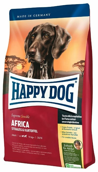 Корм для собак Happy Dog Supreme Sensible Africa для здоровья кожи и шерсти, страус с картофелем