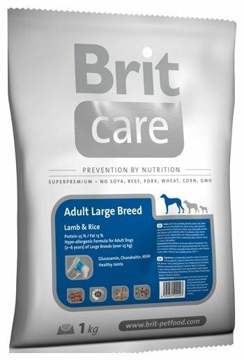 Корм для собак Brit Care ягненок с рисом 1 кг (для крупных пород)